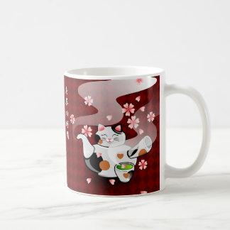 Taza japonesa del kanji de Sakura del gato del té