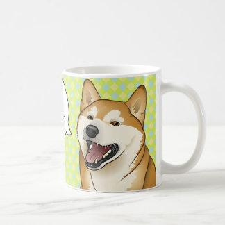 Taza japonesa roja feliz del perro de la buena