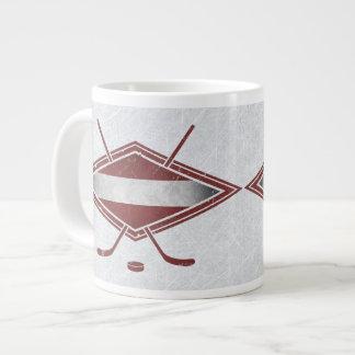 Taza letona del logotipo de la bandera del hockey taza grande