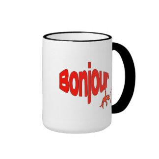 """Taza linda de """"Bonjour"""" de los cangrejos/de la"""