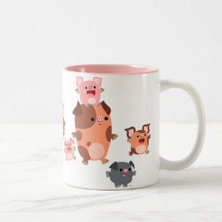 Taza linda de la familia del cerdo del dibujo anim