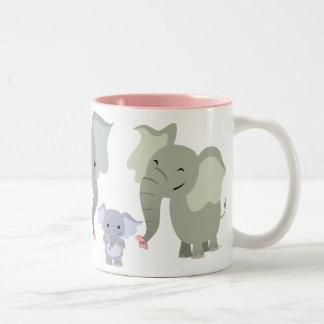 Taza linda de la familia del elefante del dibujo