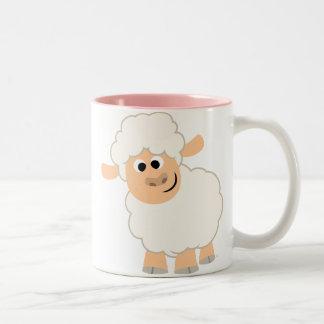 Taza linda de las ovejas del dibujo animado