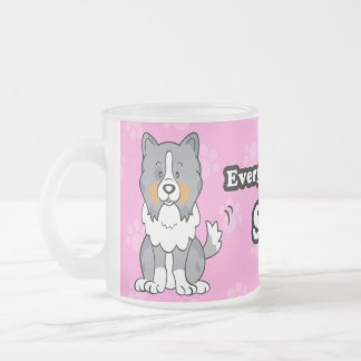 Taza linda de Sheltie del perro del dibujo animado
