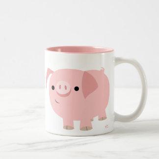 Taza linda del cerdo del dibujo animado
