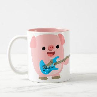 Taza linda del cerdo del dibujo animado de Rockin