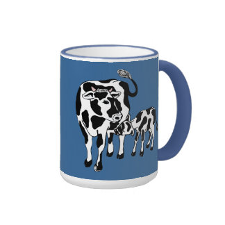 Taza linda del dibujo animado de la vaca