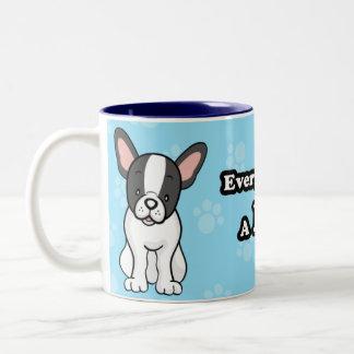 Taza linda del dogo francés del perro del dibujo a