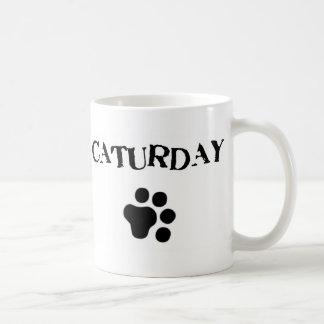 Taza linda del gato de Caturday