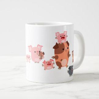 Taza linda del jumbo de la familia del cerdo del d taza grande