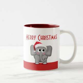 Taza linda del rojo del elefante del gorra de Sant