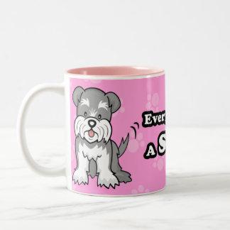 Taza linda del Schnauzer del perro del dibujo anim