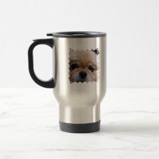 Taza linda del viaje del perrito de Pekingese