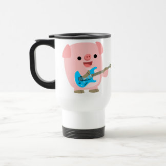 Taza linda del viajero del cerdo del dibujo animad