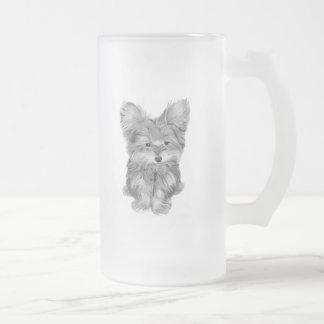 Taza linda del vidrio esmerilado del perro de