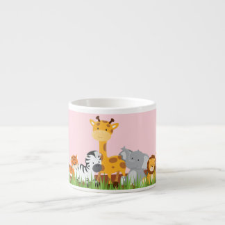 Taza linda rosada del café express de los animales