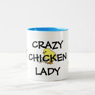 Taza loca de la señora café del pollo