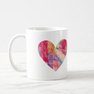 Taza ls del corazón del arco iris de la acuarela