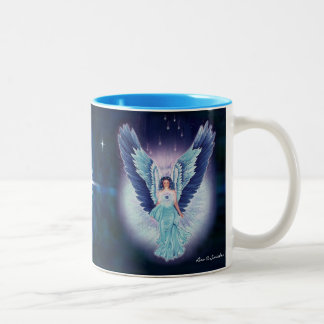 Taza magnífica del ángel azul del zafiro de la