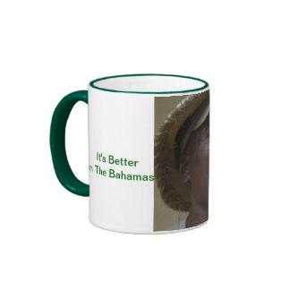 Taza, manipulador verde, hombre con el pájaro # 1 taza de dos colores