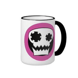 Taza mecánica de la blanco del rosa del cráneo
