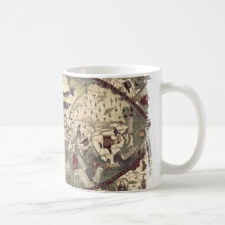 Taza medieval del mapa del mundo del vintage