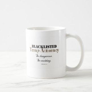 Taza mencionada negra del abogado de los