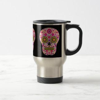 Taza mexicana rosada del viaje del cráneo del