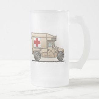 Taza militar del vidrio esmerilado de la ambulanci