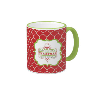 taza moderna del ornamento del navidad del vintage