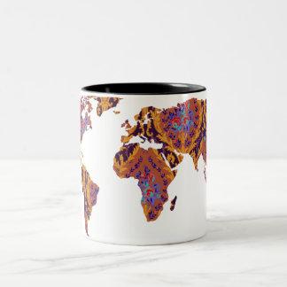 Taza moderna del viajero de mundo del mapa del