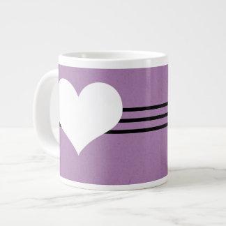 Taza moderna púrpura del jumbo del corazón taza jumbo