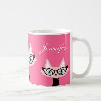 Taza moderna retra elegante del gato - rosa
