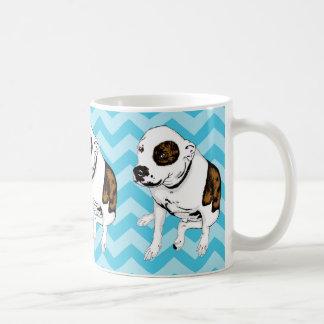 Taza monocromática de Terrier de pitbull de