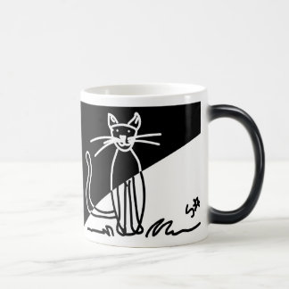 Taza Morphing del gato 1 blanco y negro