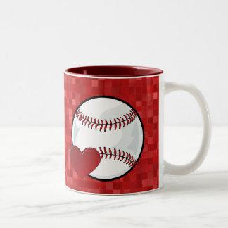 Taza - mosaico del béisbol del corazón