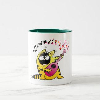 Taza musical del gato loco/taza hilarante del