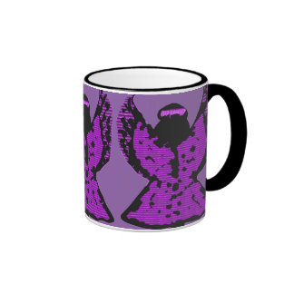 Taza negra, blanca, y púrpura del arte del ángel