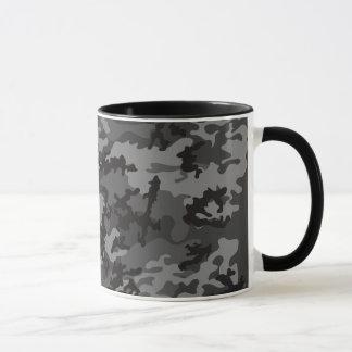 Taza negra de encargo del vidrio de Camo