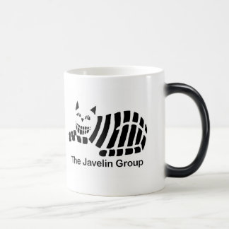 Taza negra y blanca del logotipo de la jabalina