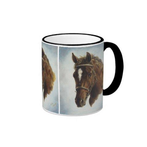 Taza occidental del caballo del funcionamiento en