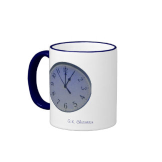 Taza parada reloj de la cita de Chesterton en azul