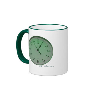 Taza parada reloj de la cita de Chesterton en verd