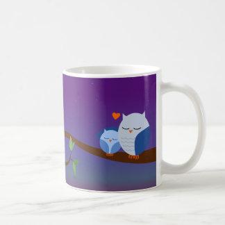 Taza personalizada búhos soñolientos azules
