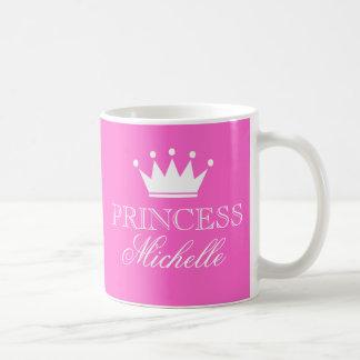 Taza personalizada de la princesa en rosa con nomb