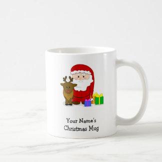 Taza personalizada del navidad - Santa y reno