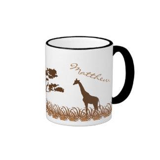 Taza personalizada del safari de la jirafa