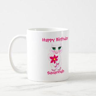 Taza personalizada gato lindo del cumpleaños del g