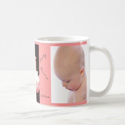 Taza personalizada NIÑA rosada de la foto de los t