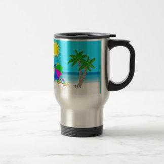 Taza personalizada playa tropical del viaje del